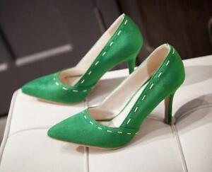Zapatos de salón tacón aguja mujer en verde blanco talón 9 cm 8572