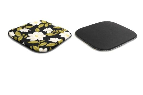 4 Pack NWT Indoor//Outdoor Chair Pads with Dogwood Flowers and Solid Black