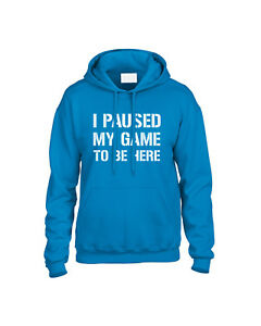 I-Paused-My-Game-To-Be-Here-Kids-Hoodie-Hooded-Sweatshirt-Ages-3-13