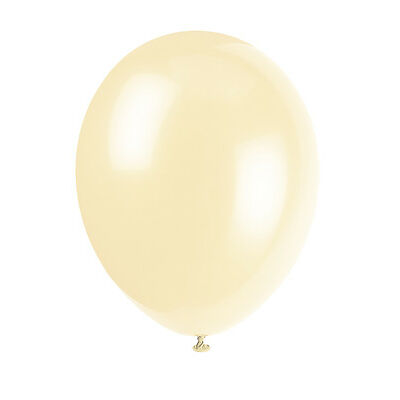 "10 Ivory Cream 12"" Latex Balloons - Helium Quality Party/Wedding Air Fill"