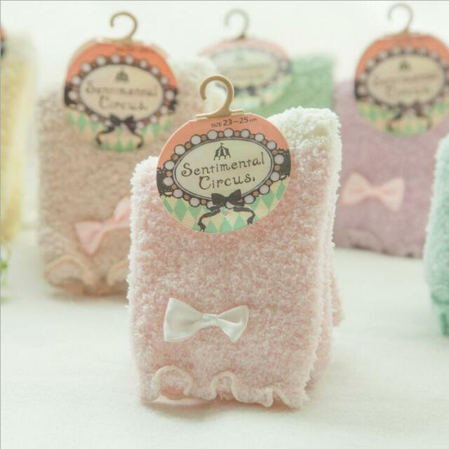 """Just Candy"" 6 Pairs Socks Sox Womens Girls Soft Cozy Fuzzy Warm Slippers Socks"