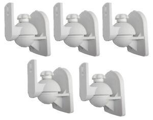 5 Pack Lot Universal Satellite Speaker White Wall Mount Brackets