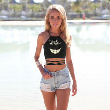 Women Cheshire Cat Smile 3D Print Backless Crop Bandage Show Thin Casual Top