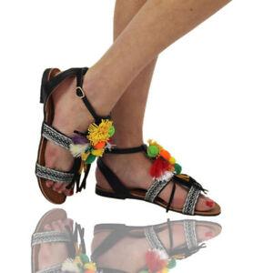 New-Women-039-s-Ladies-Strap-Flat-Shoes-Pom-Pom-Beach-Black-Girls-Sandals-Sizes-3-8