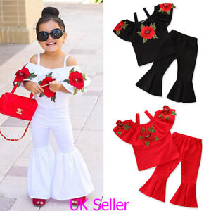 3f07d556accd UK Baby Girls Kids Strappy Floral T Shirt Tops+Flare Pants Summer ...