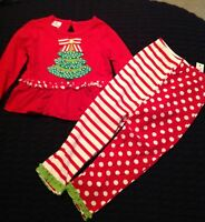 (cre8ions) Girls Set Christmas Tree W/polka Dot Legging Size 4 Year