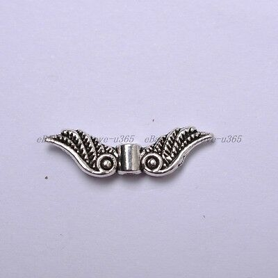 20Pcs TIBETAN SILVER, GOLD, BRONZE, Angel Wings Charms Spacer BEADS 23MM BE1029