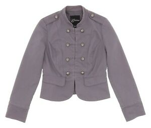 GUESS Cropped Jacket S Small Womens Grey VICTORIAN Button Front Steampunk Coat