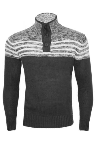 Mens 3 Button Long Sleeve Sweater Winter Thick Warm Knitted Pullover Jumper Top