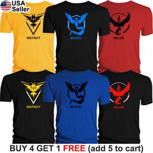 Pokemon Go T Shirt Team Valor Team Mystic Team Instinct Red Blue Yellow Pokeball Ebay