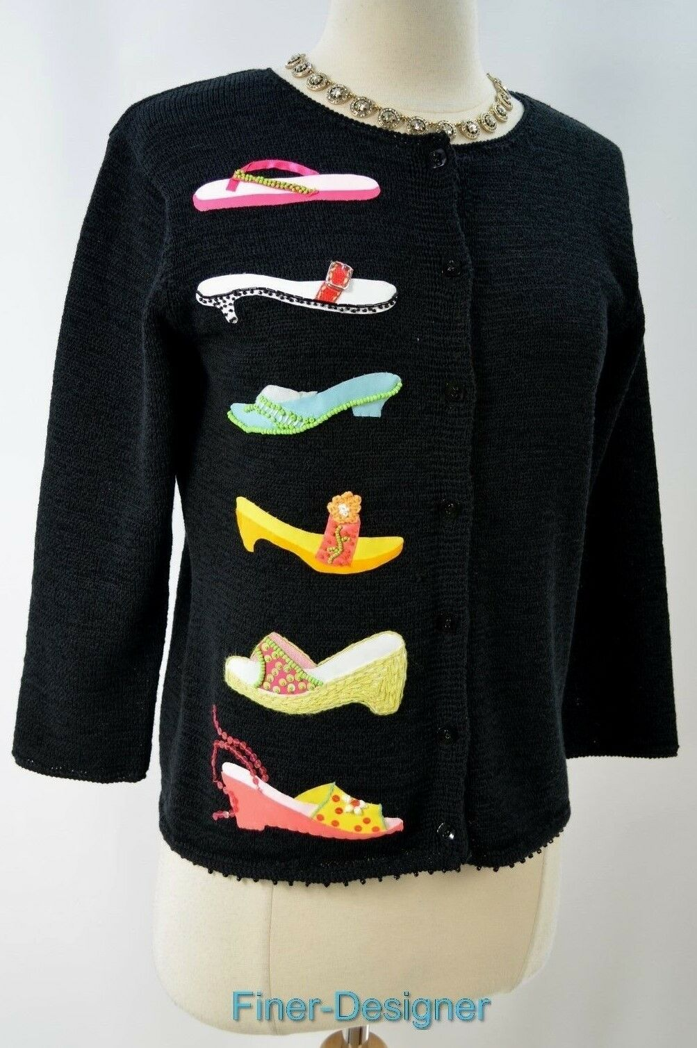 Susan Bristol knit Sweater top cardigan novelty embellished sandals shoes S NEW