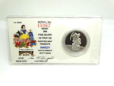 DISNEY Snow White 50th Anniversary PRINCE RM .999 Fine 1//2 oz Silver Medal Coin