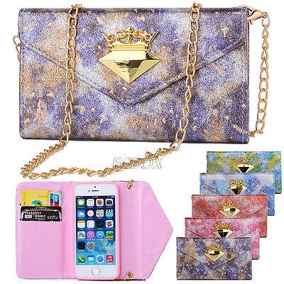 Rainbow Leather Handbag Wallet Case Metal Chain Bling Diamond For iPhone Samsung