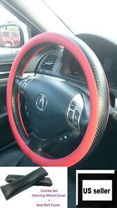 1x-Carbon-Fiber-Red-Leather-Steering-Wheel-Cover-Seat-Belt-Cover-Set-Slip-On-top
