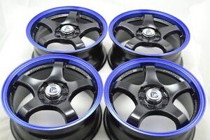 4-New-DDR-Fuzion-15x6-5-4x100-114-3-38mm-Black-Blue-Lip-15-034-Wheels-Rims