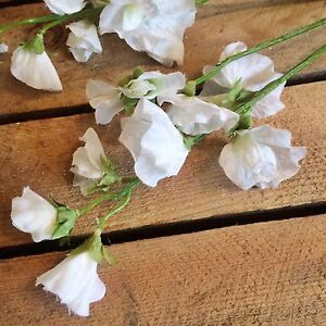 Bunch of white artificial sweet pea stems silk flowers realistic image is loading bunch of white artificial sweet pea stems silk mightylinksfo Gallery