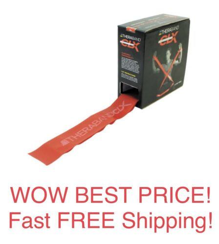 Red OFFICIAL TheraBand CLX Resistance Band with Loops Medium 25 Yd Box