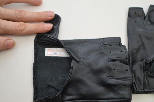 Work Gloves Black Size Medium Millington Men/'s Fingerless Faux Leather Cycling