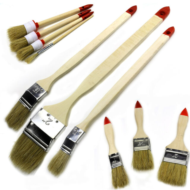 COMPLETE PAINT BRUSH SET LONG REACH Decorate/Waxing/Round/Ceiling Fine Edges