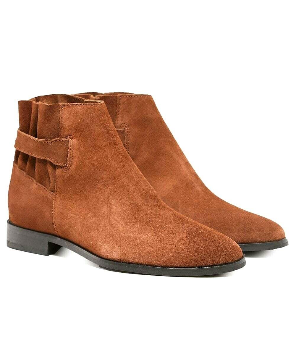 H By Hudson Tan Tie Buckle Slip On Aretha Leather Flat schuhe Stiefel 5 38 neu