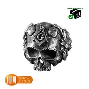 Bague-chevaliere-anneau-en-acier-inoxydable-316-L-motif-crane-franc-macon