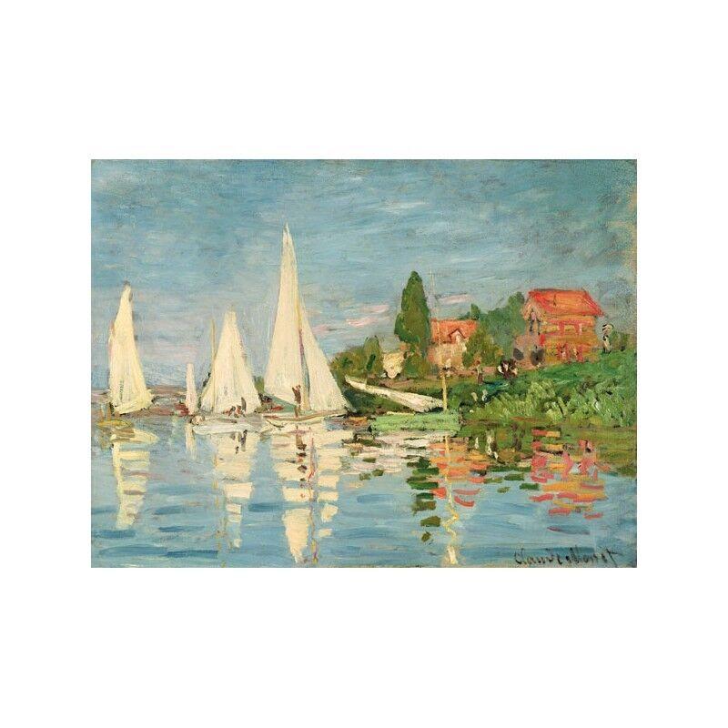 Quadro su su su Pannello in Legno MDF Claude Monet Regatta at argentoeuil 814ff4