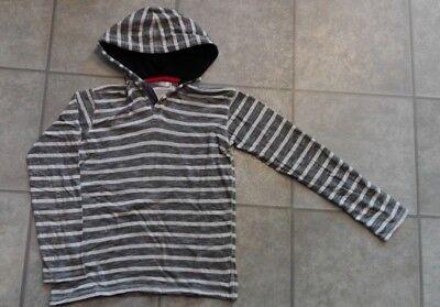 ***cooler Pullover** Hooded Nicht So Dick Langarm Grau Weiß Gestreift Gr.158/164