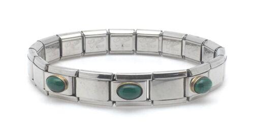 Italian Charm Bracelet 9 mm Stainless Steel Link 18K Malachite Oval Stone Green