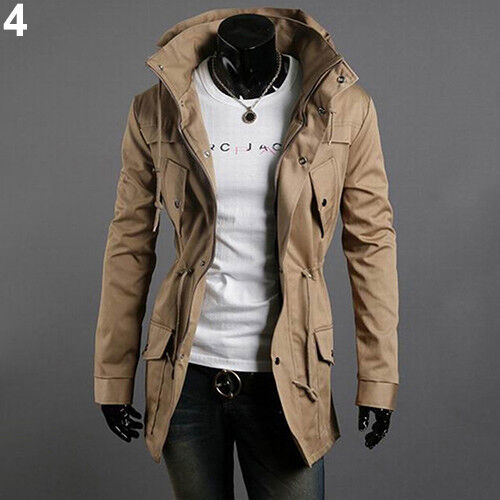EE/_ AM/_ Mens Zip Button Hooded Military Slim Fit Collar Jacket Long Coat Outwear