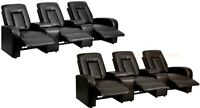 3 Power Recliner Home Theater Chairs Black Brown Leather-soft Storage Cup Holder
