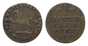 Münzen Braunschweig-wolfenbüttel 2 Pfennig 1814 Friedrich Wilhelm 1806-1815