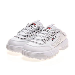 Details about New FILA Women Disruptor II 2 Mule Tapey Tape Shoes Sneakers-  White(FS1HTB3134X)