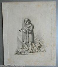 Aguafuerte NINFA CON FLAUTA, sig. G.Bion 1827 Munich, 18x15 cm Gráfico