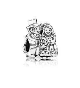 Genuine-Pandora-Bride-amp-Groom-Wedding-Love-Charm-Sterling-Silver-791116-ALE-S925