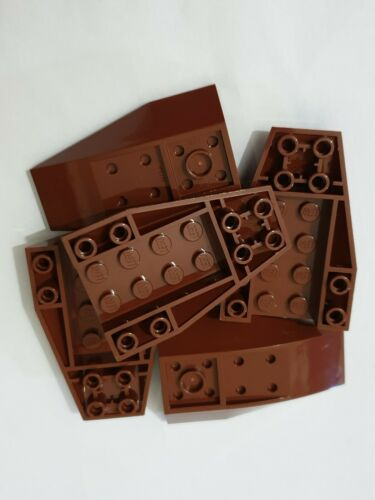 Lego reddish brown wedge 6x4 triple inverted curved 43713 ,5 parts