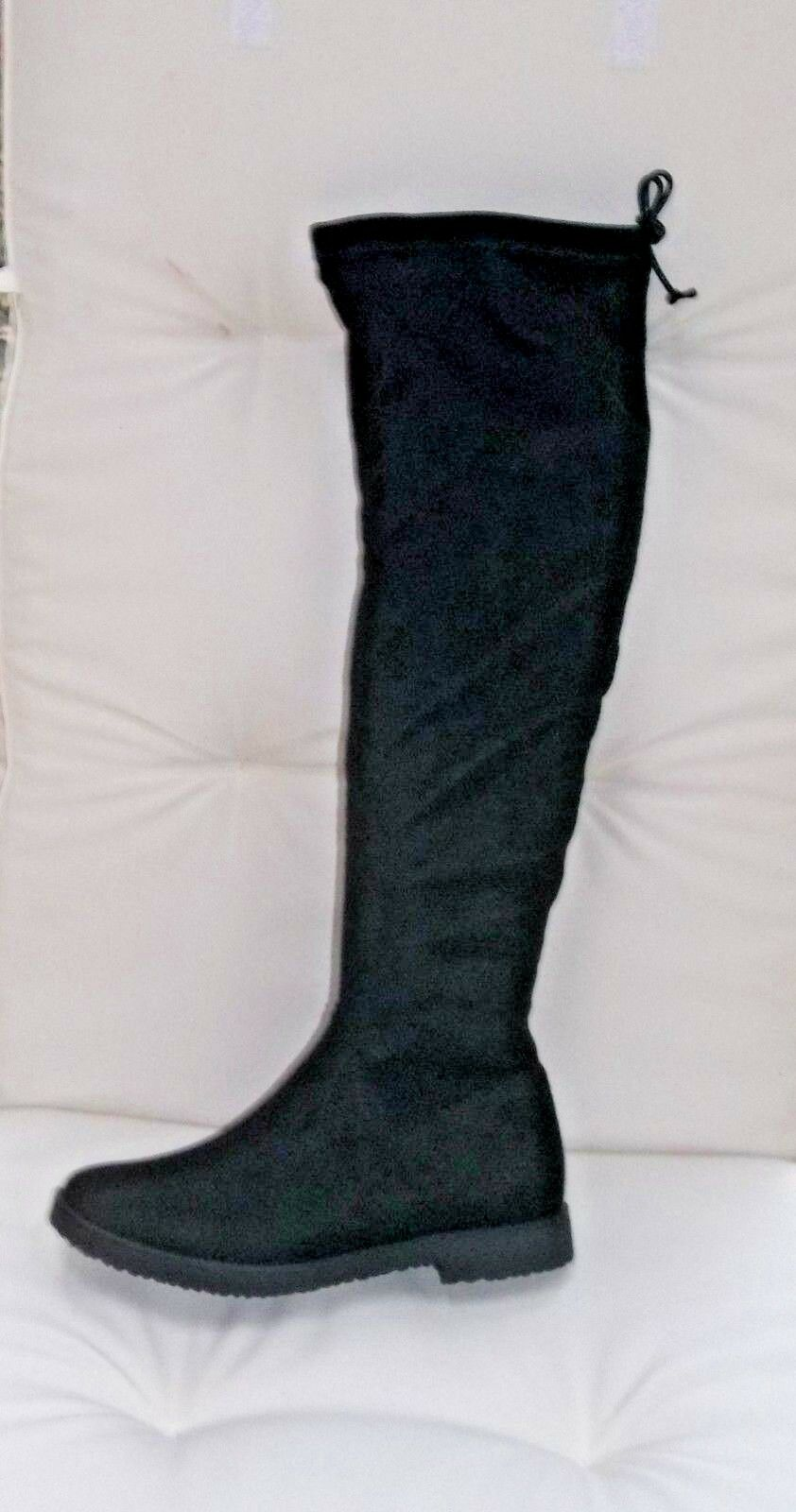 Marco Tozzi noir textile long bottes, UK 7  EU 40,    BNWB