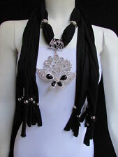 WOMEN BLACK SOFT FABRIC FASHION SCARF NECKLACE SILVER FLOWERS BUTTERFLY PENDANT