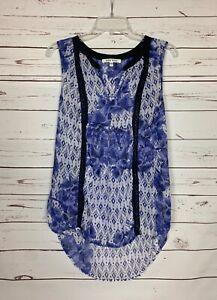 Black-Rainn-Stitch-Fix-Women-039-s-L-Large-Purple-White-Floral-Sleeveless-Top-Blouse