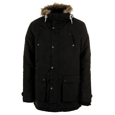 Henleys Men's Informa Faux Fur Hooded Padded Parka Coat Black