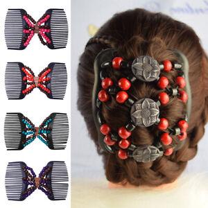 Women-Magic-Hair-Comb-Clip-Double-Slide-Wood-Beads-Elastic-Hairpin-Hair-Decor-US