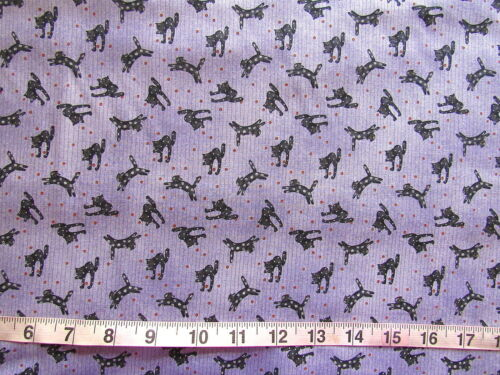 100/% Cotton Fabric Debbie Mumm by SouthSea Imports Light Purple Stripes w//Cats