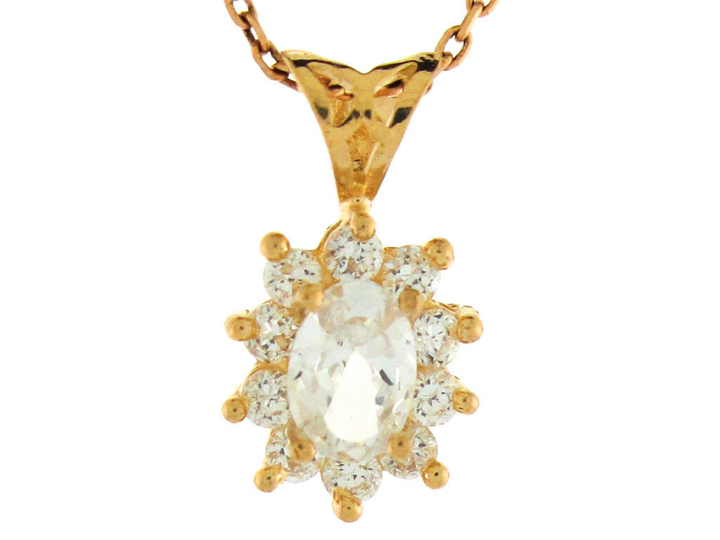 10k or 14k Yellow gold White CZ April Birthstone Ladies Oval Charm Pendant