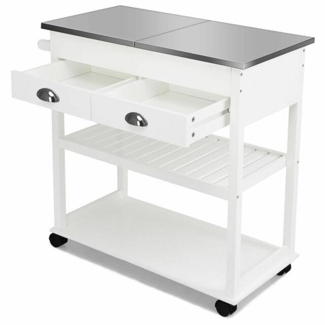Acme Furniture Ottawa Kitchen Cart Stainless Steel White For Sale Online Ebay