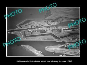 OLD-LARGE-HISTORIC-PHOTO-HELLEVOETSLUIS-NETHERLANDS-TOWN-AERIAL-VIEW-c1940-1