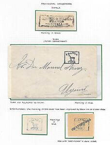 Bolivia covers Collection Provisional Handstamped Labels and cover YURA + YOTALA