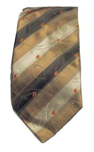 Designer Krawatte gestreift in brauntönen mit Muster in orange schwarz braun NEU