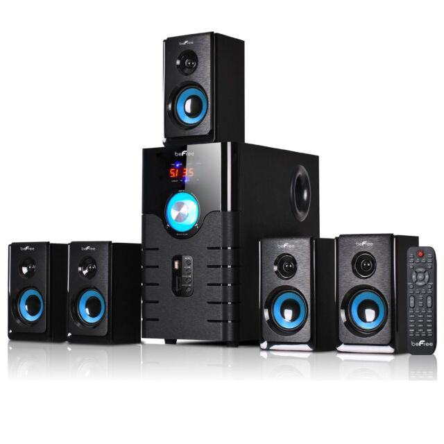 NEW BEFREE 5.1 CHANNEL SURROUND SOUND BLUETOOTH HOME THEATER SPEAKER SYSTEM BLUE
