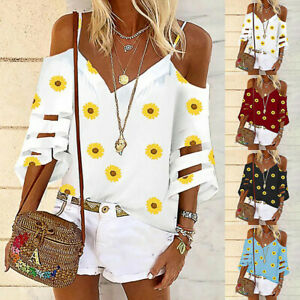 Plus-Size-Women-Cold-Shoulder-T-Shirt-Tops-Ladies-Summer-Beach-Loose-Blouse-AA