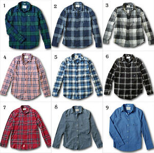 NWT-Hollister-Abercrombie-Mens-Classic-Plaid-Stretch-Flannel-Shirt-Poplin-Shirt