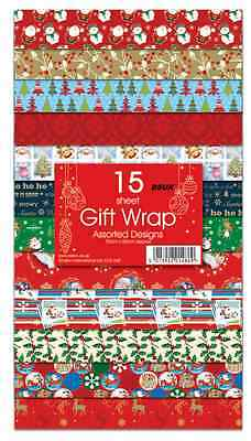 Christmas Gift Wrap Design.New15 Sheets Christmas Gift Wrap Wrapping Paper Assorted Designs Flat Wrap Ebay